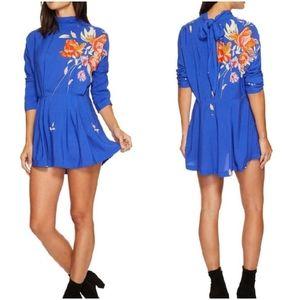 Free People Gemma Tunic Mini Dress S Blue Floral